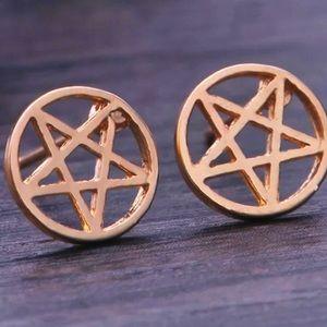 Pentagram Stainless Steel Stud Earrings